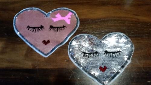 Patch Herz mit Augen Wimpern süß rosa mit Wendepailletten zum Wenden Aufnäher