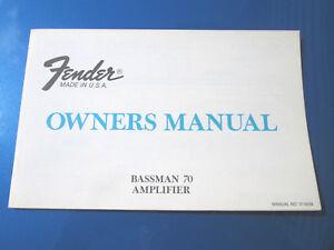 Brillant Véritable Original'78 Fender Bassman 70 Head Tube Ampli Guitare Propriétaires Manuel! Nice!-afficher Le Titre D'origine Acheter Un En Obtenir Un Gratuitement
