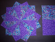"""40 Purple and Turquoise Paisley 4""""  Quilt Quilting Squares Cotton  * Fabric USA"""