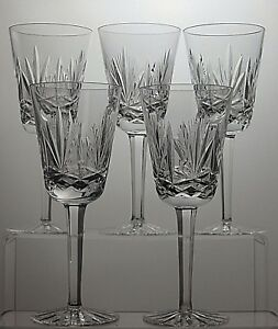 "LOVELY LEAD CRYSTAL CUT GLASS 8 Oz WINE GLASSES SET OF 5 - 7"" TALL y08Uq6vf-09101942-996606528"