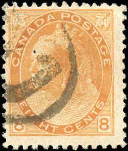 Used-Canada-1899-8c-F-Scott-82-Queen-Victoria-Numeral-Issue-Stamp