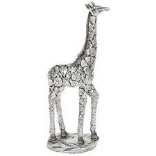 Silver Leaf Giraffe Standing 24cm Statue Ornament Figurine