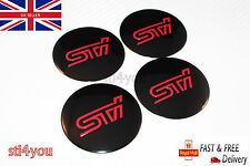 4 x Sti Sticker Wheel Center Cap Badge 57MM Aluminium Domed Hub for Subaru