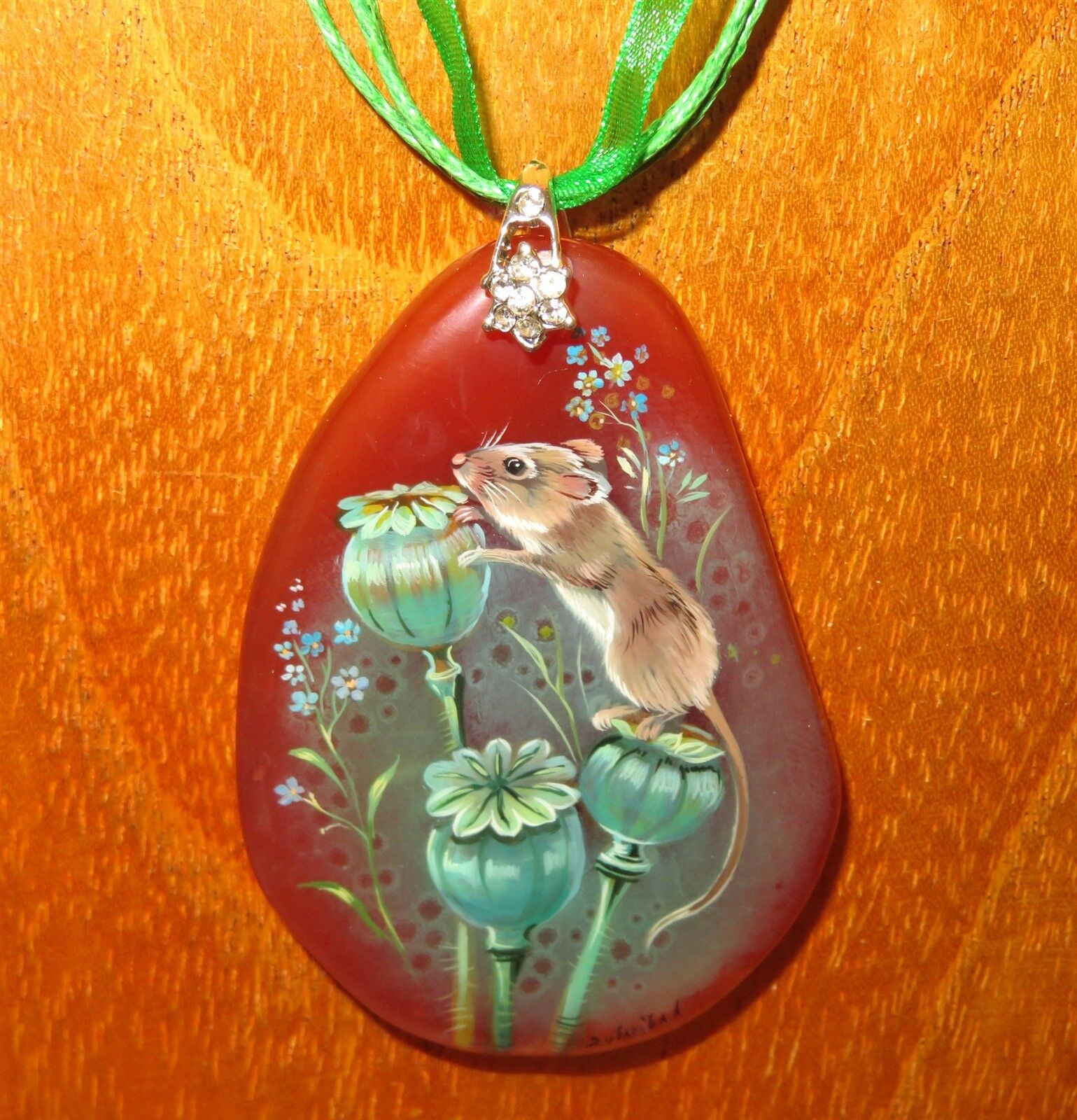 Genuine Russian hand painted STONE Field Wood Mouse on Dandelion pendant signed
