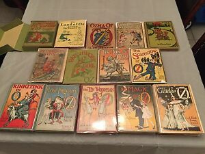 Rare-Complete-set-of-1st-editions-Wizard-of-Oz-books-with-6-books-in-DJ-Baum