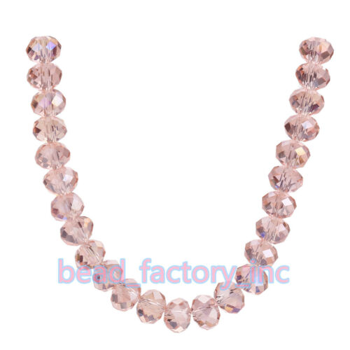 3x4mm 5040# Faceted Jewelry Loose Rondelle Crystal Glass Spacer Beads 71Colors