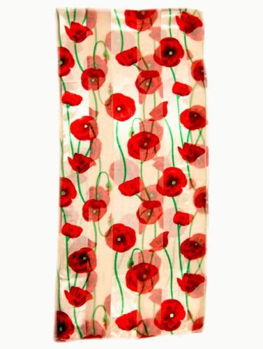 Remembrance Day Red POPPY Silky Shiny Soft Chiffon Scarf Shawl Wrap Stole UKpost