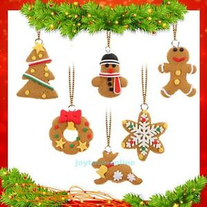 Polymer Clay Christmas Tree Decorations.6pcs Christmas Tree Ornament Polymer Clay Pendants Hanging