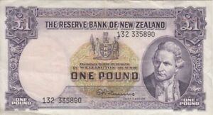 Hanna Banknote Circulated Cir 1940-1955 P-159a Sig New Zealand 1 Pound