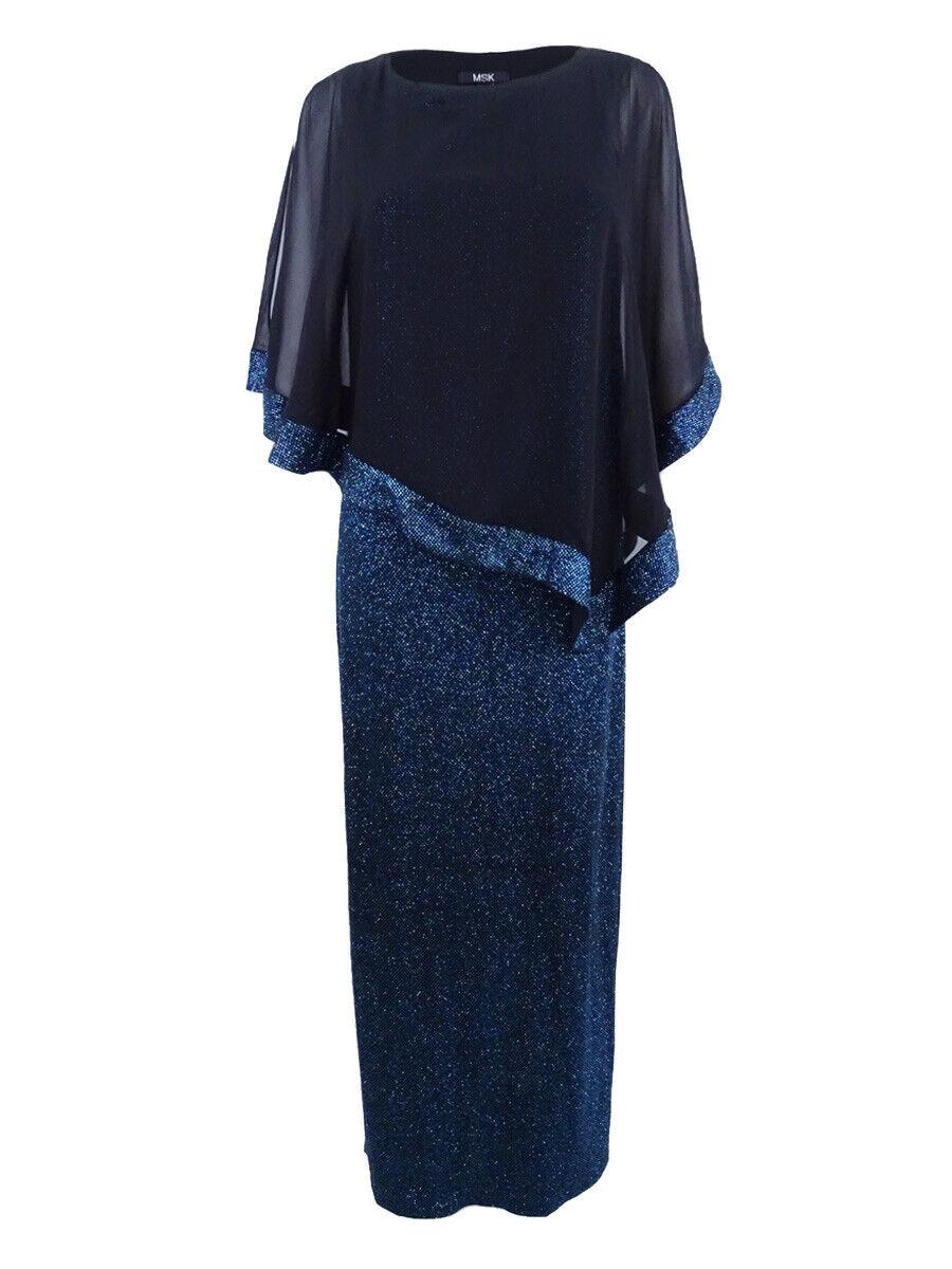 Msk Woherren Poncho-Overlay Glitter Gown (6, Blau schwarz)