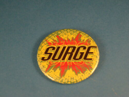 "COCA COLA discontinued SURGE Old Soda BUTTON pin pinback 2 1//4/"" badge NOS Big"
