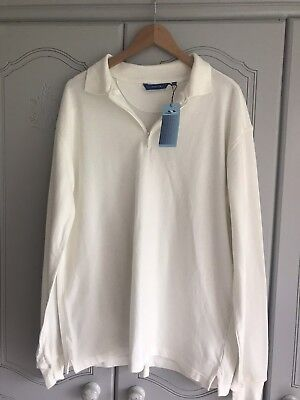 Mans Freeport Cream Long Sleeve Polo Top Xxl 100% Cotton New With Tags Clothing, Shoes & Accessories Men's Clothing