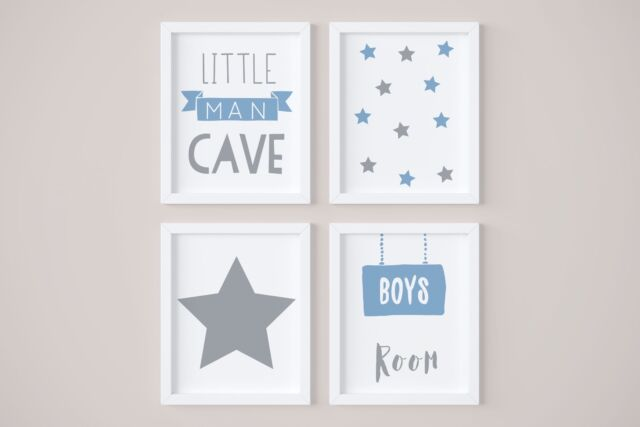 Set Of 4 Little Man Cave Boys Room Kids Nursery Wall Art Prints Blue Grey
