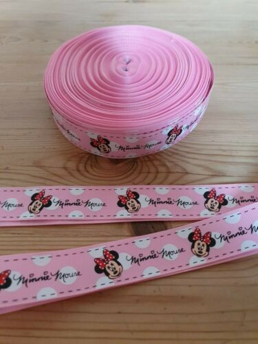 Minnie Mouse Disney Grosgrain Printed Character Ribbon 25mm Cake Hair Birthday