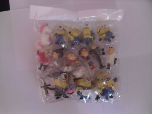 DESPICABLE ME MINION Solid 14 pcs Jouet Set Figure//gâteau Toppers NEUF UK VENDEUR