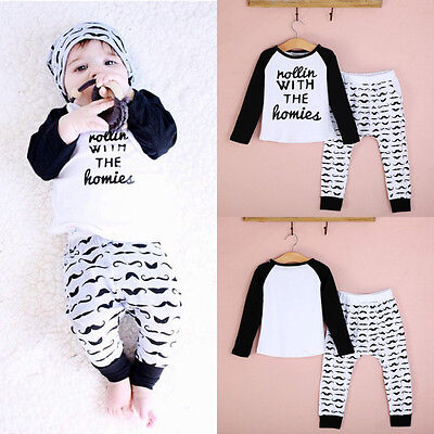 2pcs Toddler Kids Baby Boys Outfits Long sleeve T-shirt Top+Pants Clothes Outfit