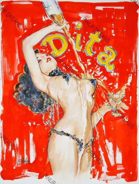 "Retro Vintage Burlesque Colour Poster ""DITA"" re-print, Dita Von Tease, pin-up"