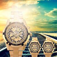 Men's Fashion Steel Hand-Winding Skeleton Automatic Mechanical Wrist Watch New