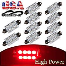10Pcs Red 42MM 5050 8SMD Festoon Car Dome Map Interior LED Light bulbs 569 578