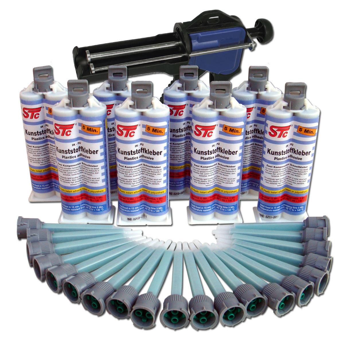 2K PU Kunststoffkleber 5 Minuten Kunststoffreperatur Set 8 x 50 g inkl. Zubehör