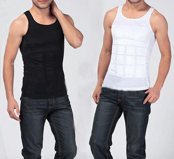 Men's Slim Body Shaper Belly Fatty Underwear Vest Shirt Corset Compression BG