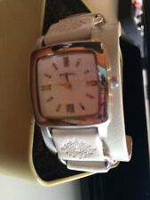 New W Gift Box Fossil Watch Cream Embossed Leather Wide Strap Bracelet 2 Pc
