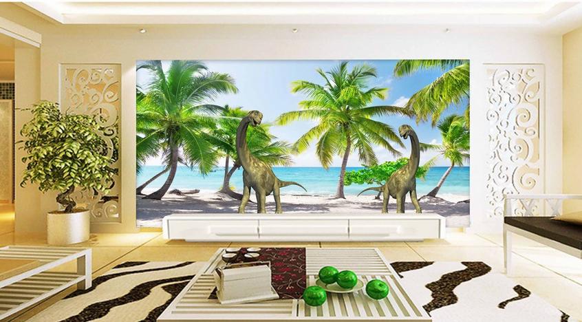 3D Dinosaurier Strand 8 Tapete Wandgemälde Tapete Tapeten Bild Familie DE Summer