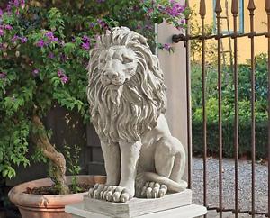 LION STATUE SCULPTURE ART Gate Guard Sentinel Garden Porch Entry Pool Statue