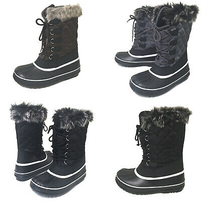 Womens Winter Boots Fur Warm Insulated Water Resistant Ski Snow Shoes Sizes:5-11