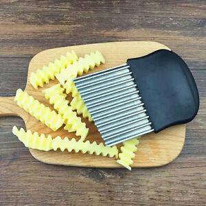 Karotten oder Gem/üse Puzzlos Pommes Schneidemesser 2St Edelstahl-Faltenschneider Wellenmesser Pommes Schneider K/üchenutensil mit Wellenschliff Faltenschneider f/ür Kartoffeln