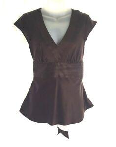 3e3069edc0d13 Express Design Studio Women s Brown Silk Cap Sleeve Blouse Size S