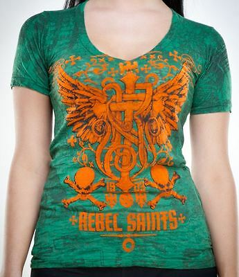 Rebel Saints AFFLICTION Womens T-Shirt SOCKET Cross Tattoo Biker Sinful S-XL $40