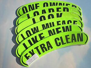 $ CAR DEALER 6 Dozen ARCH WINDOW ADVERTISE SLOGAN STICKERS ~ Green/Black