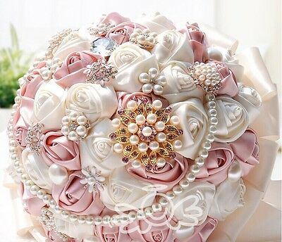 HANDMADE Ivory Satin Rose Silk Crystal Brooch Flower Bride Wedding Bouquet Posy