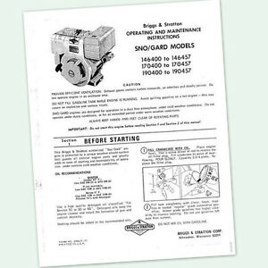 Briggs And Stratton 8hp Engine 190400 To 190457 Operating Manual