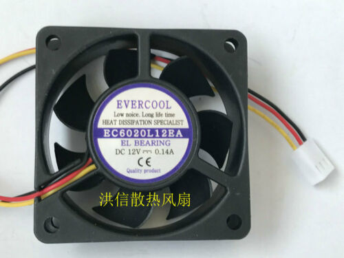 EVERCOOL EC6020L12EA DC12V 0.14A 60*60*20mm 3wire cooling fan #Mp42 QL