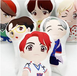 Kpop BTS RM Jin Suga JHope Jimin V Jungkook Cartoon Soft Stuffed Doll Pillow