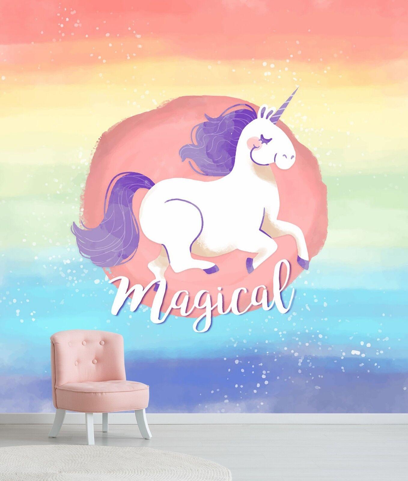 3D Unicorn Rainbow Sky 44 Wallpaper Murals Wall Print Wallpaper Mural AJ WALL AU