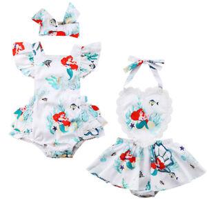 US-Cartoon-Newborn-Kids-Baby-Girls-Lace-Mermaid-Bodysuit-Romper-Jumpsuit-Clothes