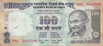 In Flavor India 100 Rupees Nd.1996 P 91g Sign.# 88 Series 9hc Circulated Banknote Lbi Fragrant