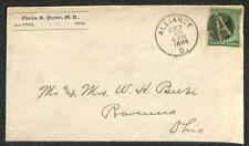 SCOTT #213 STAMP ALLIANCE OHIO CHARLES PAINTER M.D. MEDICAL CANCEL AD COVER 1889