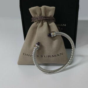David Yurman Sterling Silver Amethyst and gold 5mm cable Bracelet.
