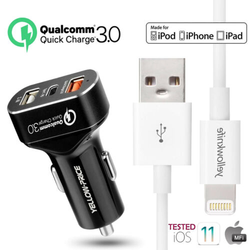 MFi Lightning Cable 3//6//10FT USB Charger 8.4A Fast Car Charger for iPhone X//7//8