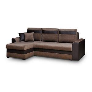 ecksofa eckcouch couch mit schlaffunktion und zwei bettkasten l form tommy braun ebay. Black Bedroom Furniture Sets. Home Design Ideas
