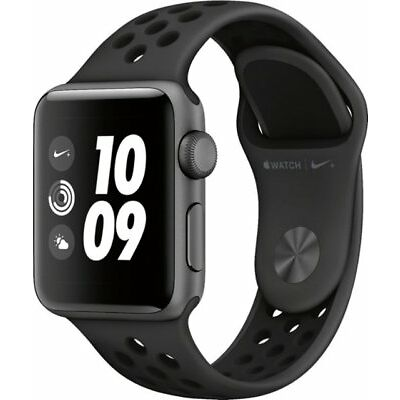 Apple Watch Nike+ Series 3 (GPS) 42mm Space Gray Aluminum Case BLACK Sports BAND