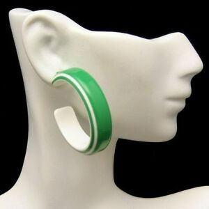 Vintage-Pierced-Statment-Earrings-Large-Chunky-Green-White-Hoops-60s-Mod-Style