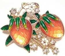High Quality Vintage Estate ENAMEL FLOWER LUCITE FRUIT BROOCH PIN Jewelry LOT A