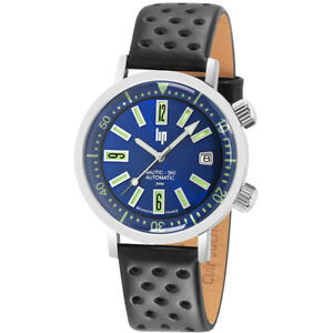 LIP-Watch-671501-Men-Nautic-Ski-Date-Rotating-Bezel-Auto-Leather-Made-in-France