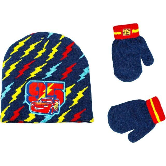 b6310de1fbe DISNEY CARS 3 LIGHTNING McQUEEN Boys Knit Winter Beanie Hat   Mitten Set  NWT  20