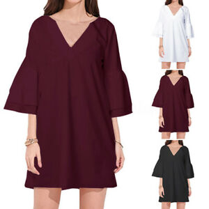 ZANZEA-Women-039-s-Bell-Sleeve-Casual-Evening-Party-Long-Shirt-Dress-Mini-Dress-Plus